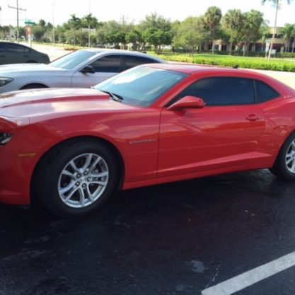 Camaro sports Car with Llumar Window Tint Jacksonville, Fl 100% Tint