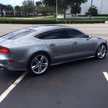 Silver A7 sports Car with window tint Jacksonville, Fl 100% Tint