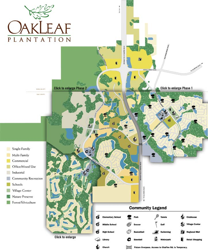 map of Oakleaf Plantation in Jacksonville FL
