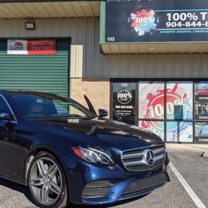 Blue Mercedes With 3M Window Tint
